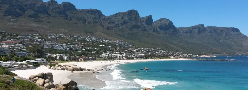 Twelve Apostles Mountain Range from Camps Bay beach on the cape-town-garden-route-tour