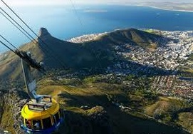 Cape Town aerial cable car station lions head and the City Centre