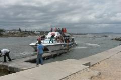 Shark Boat arriving back from Shark Cage Diving