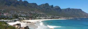 Twelve Apostles Mountain Range from Camps Bay beach on the cape-town-garden-route-tour