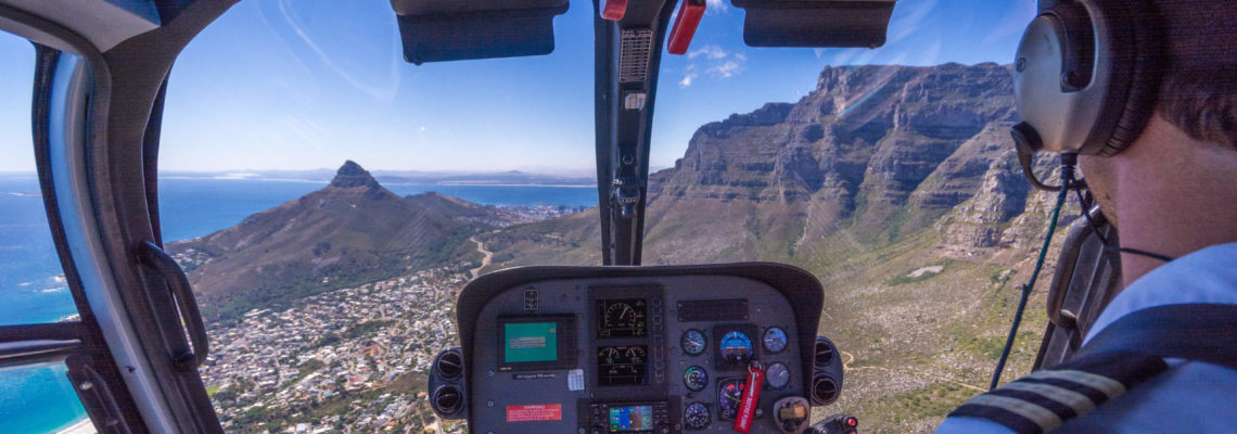 The magnificent views over Devils Peak and table Mountain and the City from a Helicopter